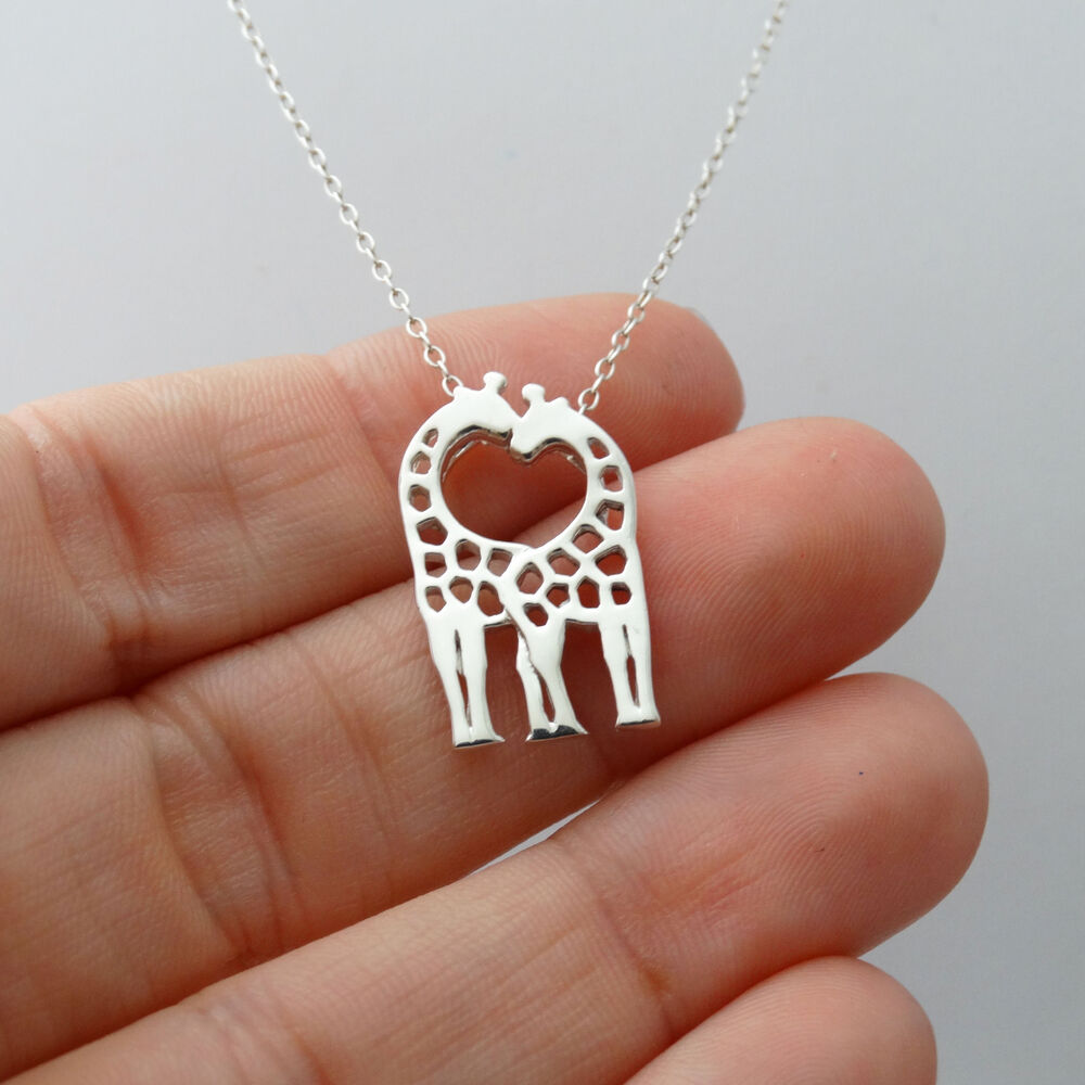 Giraffe Necklace - 925 Sterling Silver - Kissing and ...