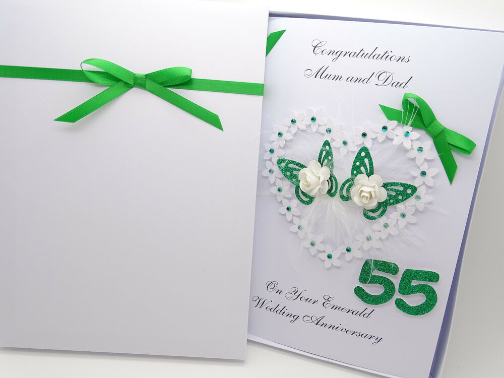 Wedding Anniversary Gifts 55 Years : ... Handmade Card 55th Emerald Wedding Anniversary 3D Gift Box AQ eBay