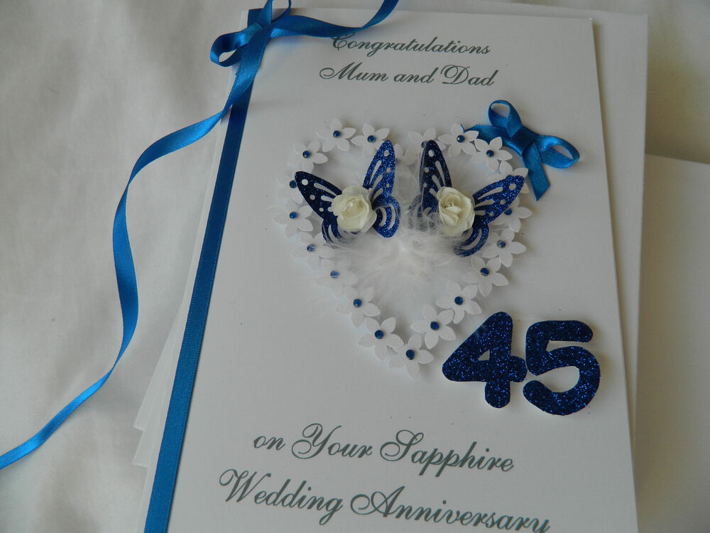 Gifts For 45th Wedding Anniversary: Personalised Handmade Card 45th Sapphire Wedding