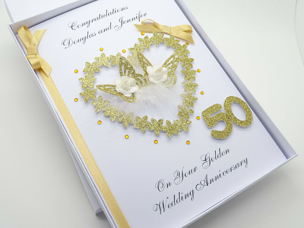 Golden Wedding Gifts Ideas: Personalised Handmade Card 50th Golden Wedding Anniversary