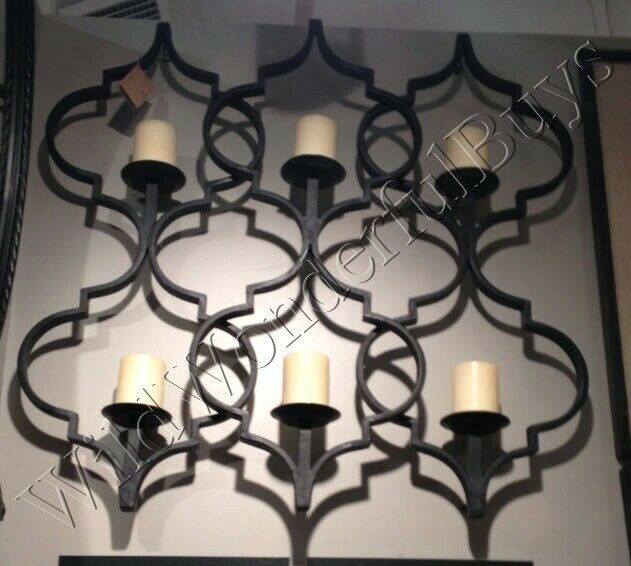 Wrought Iron WALL GRILL CANDLEHOLDER DECOR MOROCCAN Geometric Candle Sconce NEW eBay
