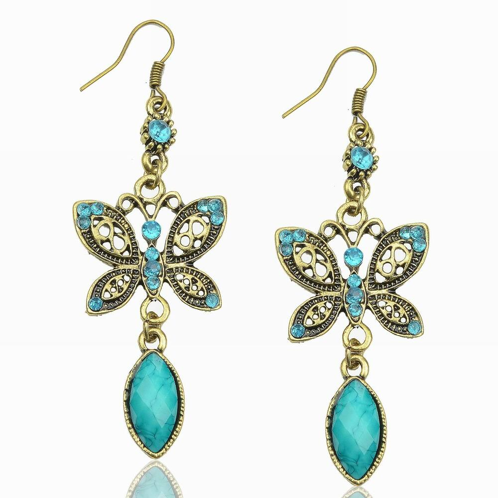 turquoise rhinestone dragonfly butterfly dangle earrings. Black Bedroom Furniture Sets. Home Design Ideas