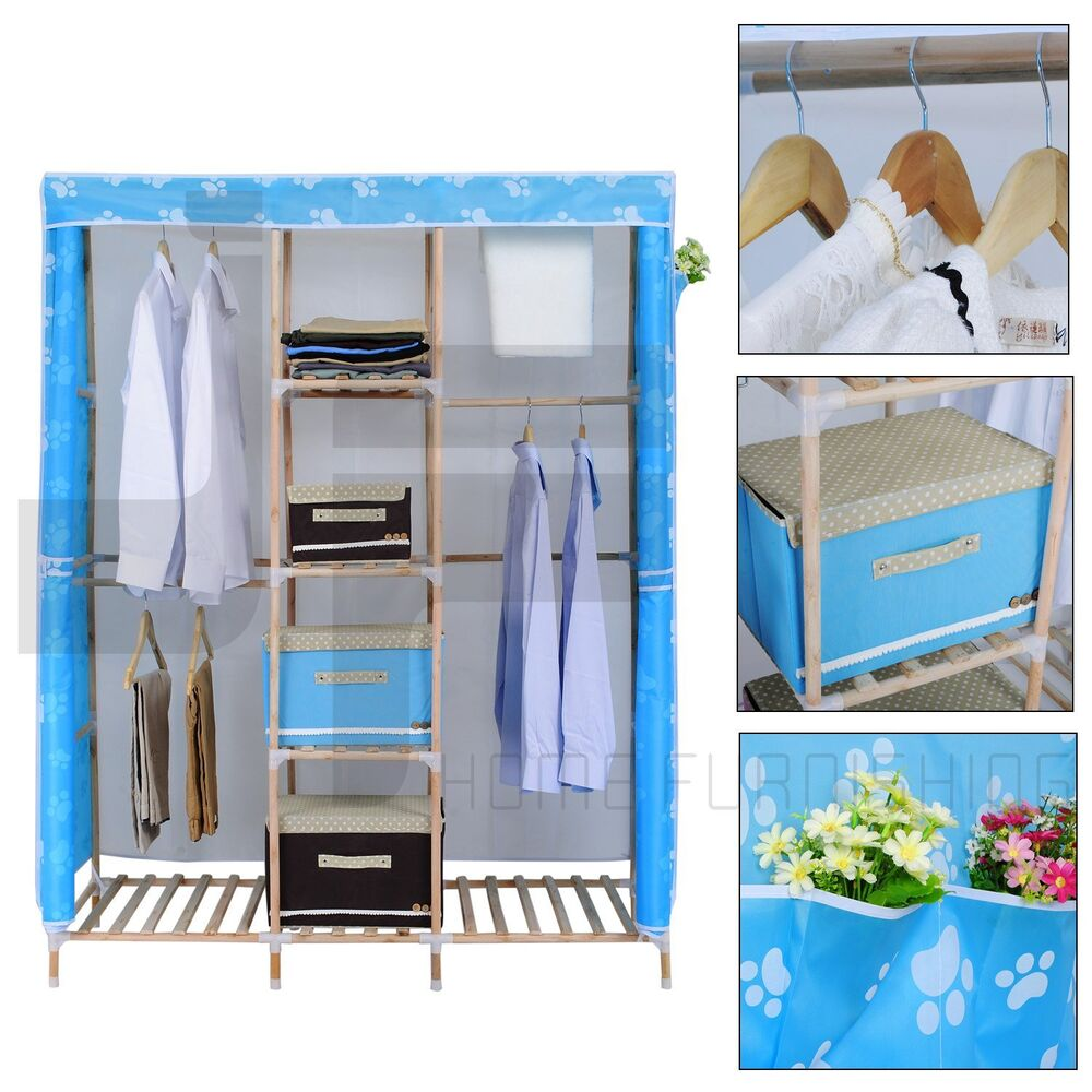 Wood Triple Canvas Wardrobe Bedroom Furniture Clothes