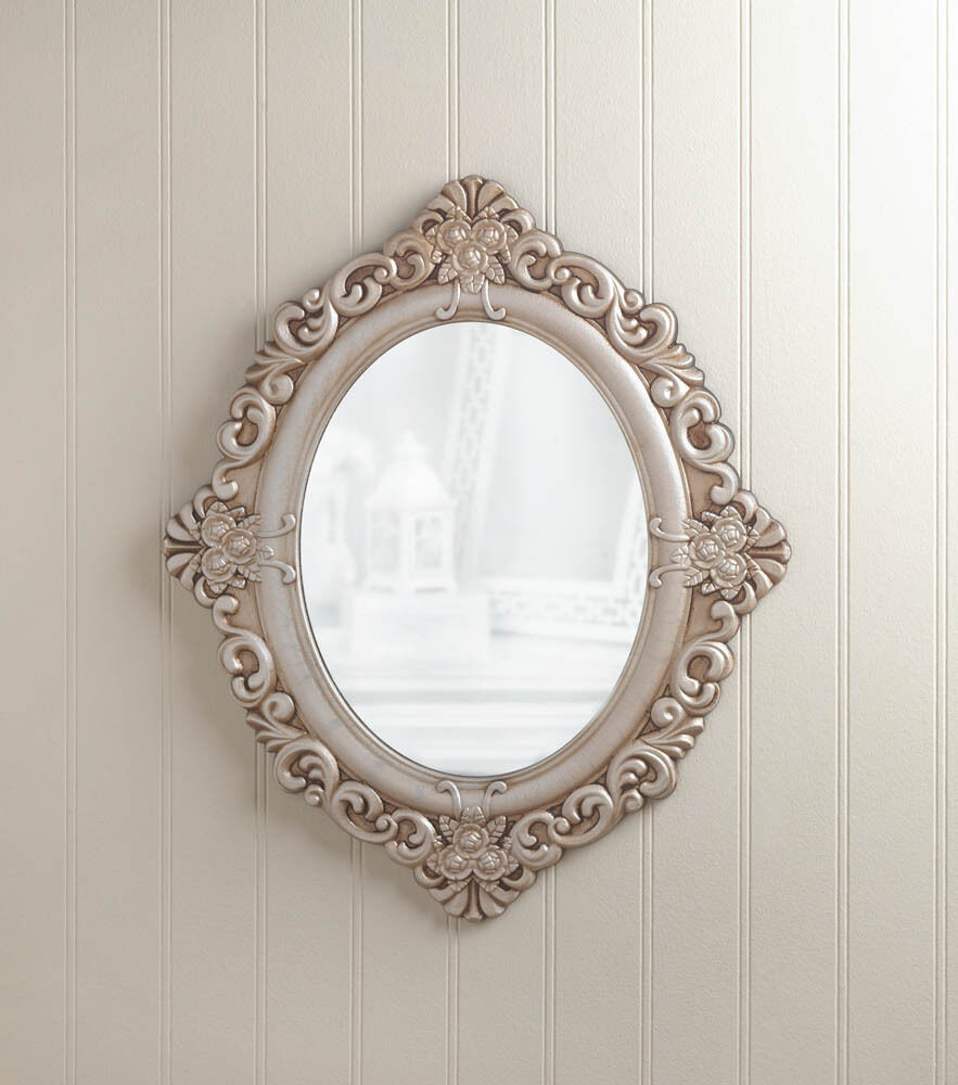 antique white bathroom mirror distressed ivory shabby vintage white carved wood 15415