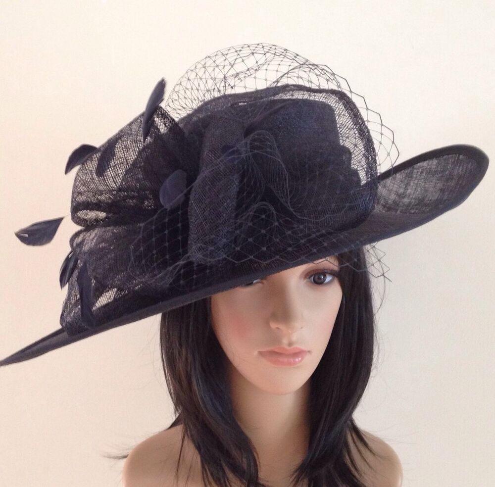 NEW DARK NAVY BLUE ASCOT HAT WEDDING FORMAL OCCASION