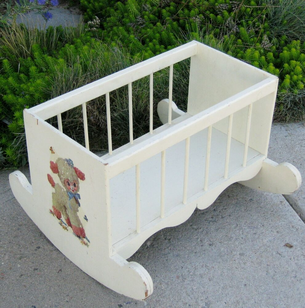 Vintage 19 Quot White Wood Rocking Doll Cradle Bed Crib W Lamb
