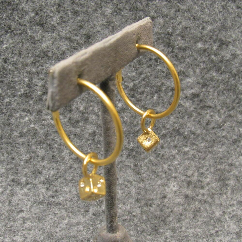 Satin Gold Finish Hoop Earrings W/ 6 Sided Lucky Dice