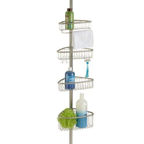 Non Rust Bathroom Telescopic Corner Shelf Storage 4 Tier