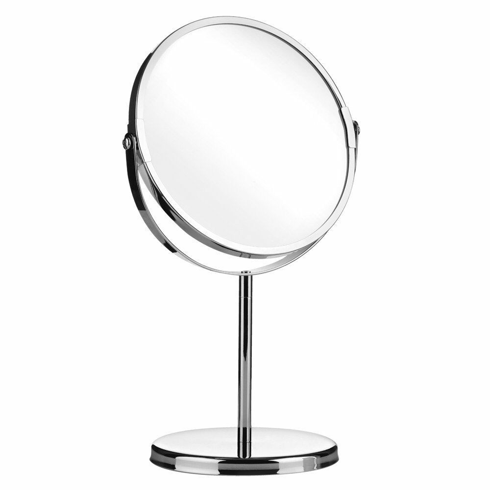 New Double Sided Chrome Round Magnifying Cosmetic Shaving Bathroom Swivel Mirror Ebay