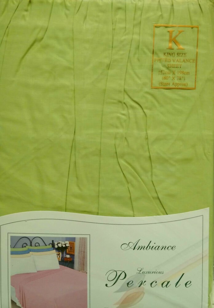 King Size Fitted Valance Sheet Lime Green 180 Thread Count