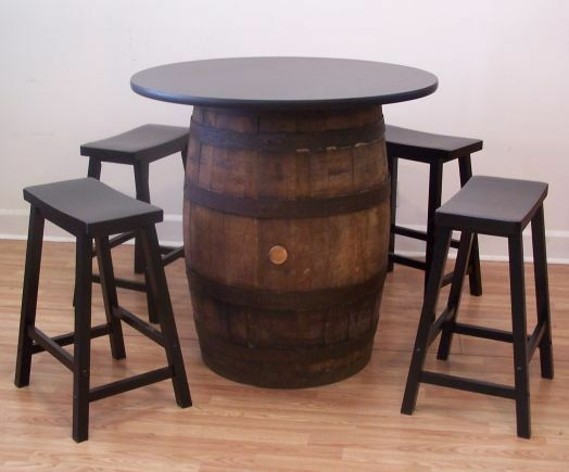 White Oak Whiskey Barrel Table 36 Quot Tabletop 4 24 Quot Black