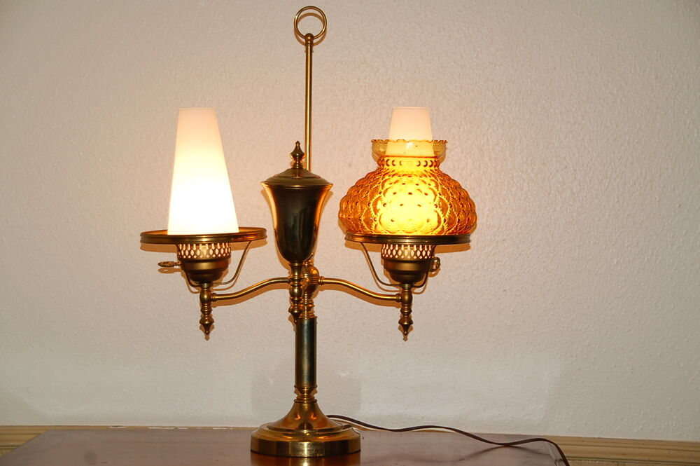 Vintage Double Arm Brass Oil Table Lamp With Chimneys