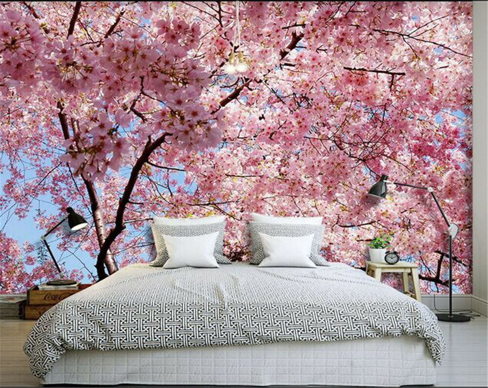 Pink sakura flowers mural wallpaper wall covering photo for Cherry blossom wallpaper mural