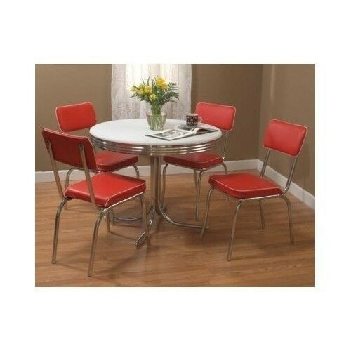 Red Dining Set Table 4 Chairs Retro Vintage Metal Chrome Kitchen Dinette Diner Ebay