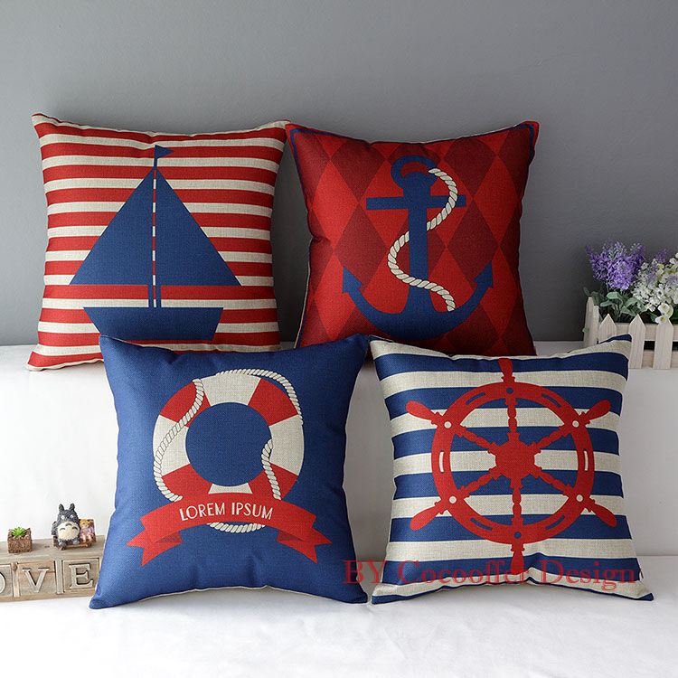 New Nautical Ocean Cushion Cover Decorative Throw Pillow Case Square Sofa Home eBay