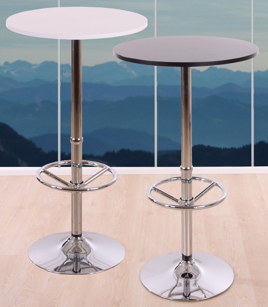 table de bar table haute bari avec repose pied 109x60x60cm noir blanc ebay. Black Bedroom Furniture Sets. Home Design Ideas