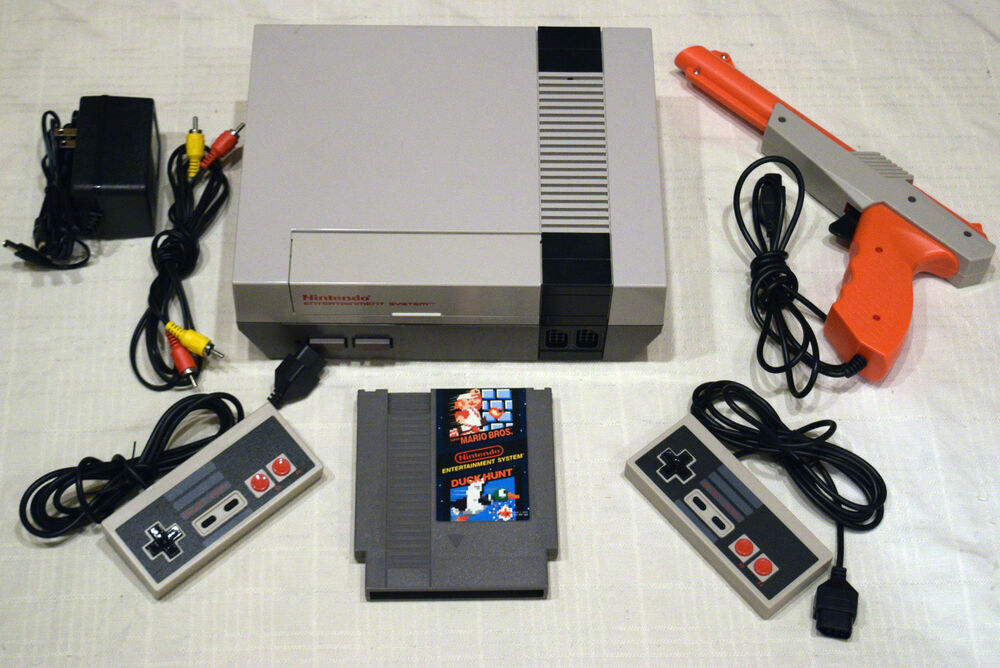 Nintendo nes console system complete super mario duck hunt - How much is a super nintendo console worth ...