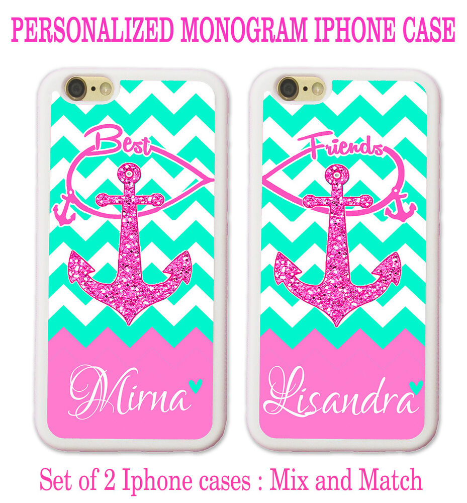 best friend iphone cases personalize mint chevron pink anchor bff best friend cases 9118