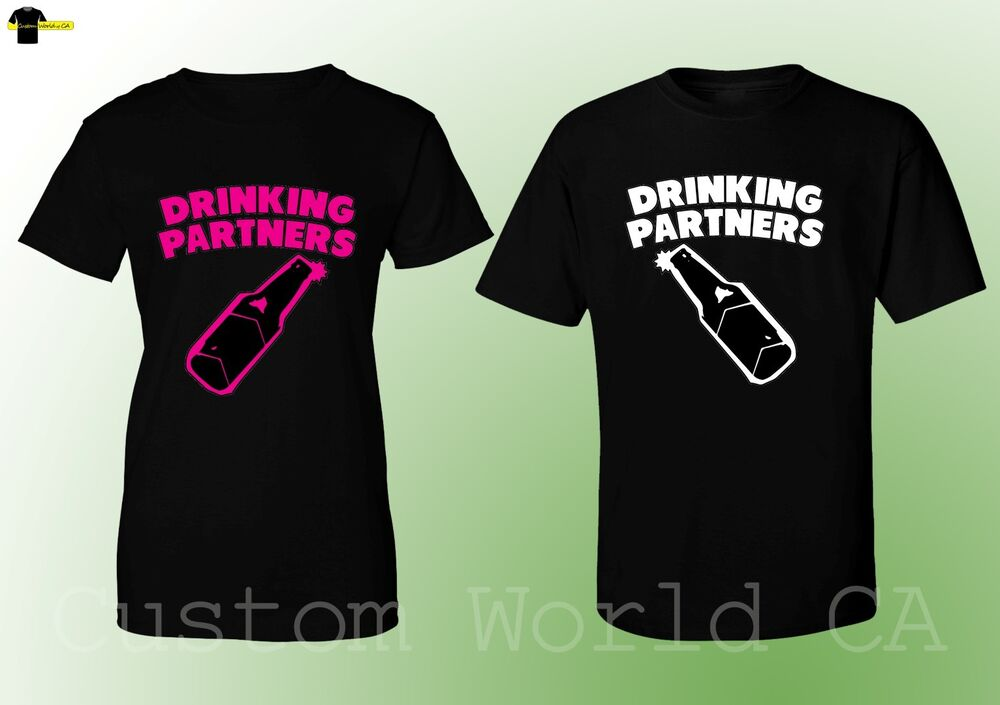 couple tshirt drinking partners matching shirts his and