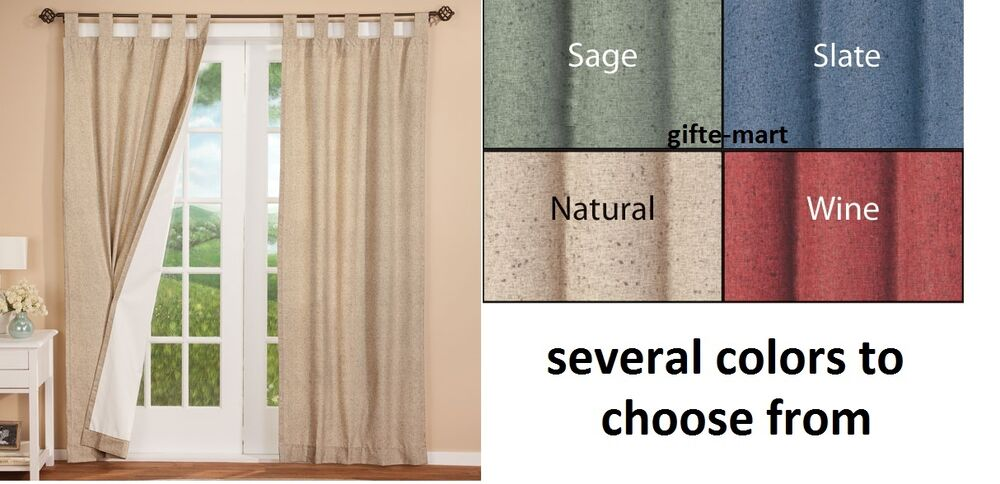 ... TAB TOP Insulated Window panel Curtains Drapes PAIR white lined | eBay