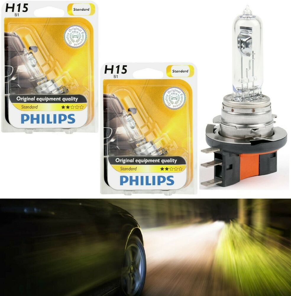 Philips Standard H15 15 55w Two Bulbs Head Light Drl Daytime High Wiring Harness Beam Replace Ebay