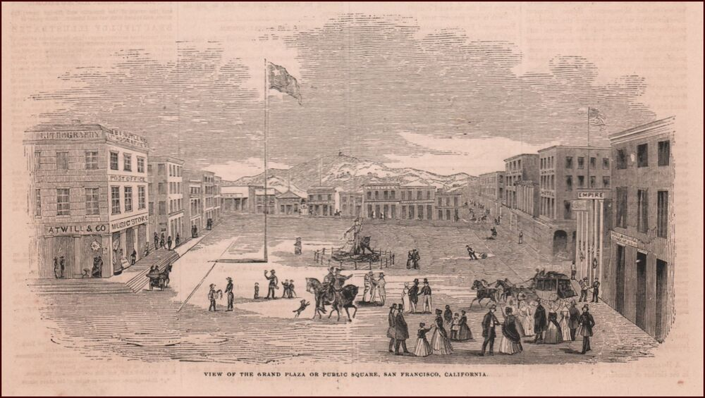Union square san francisco antique engraving print for Buy reclaimed wood san francisco