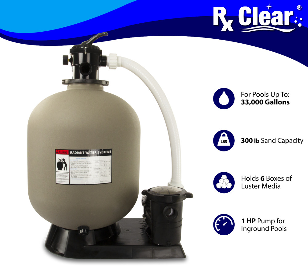 Rx clear radiant 24 in ground swimming pool sand filter for Inground pool pump and filter systems