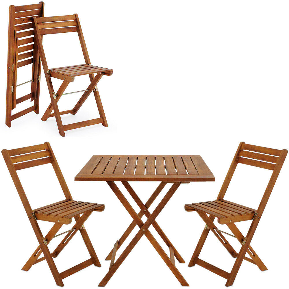wooden furniture set balcony patio folding table chairs fsc camping outdoor ebay. Black Bedroom Furniture Sets. Home Design Ideas