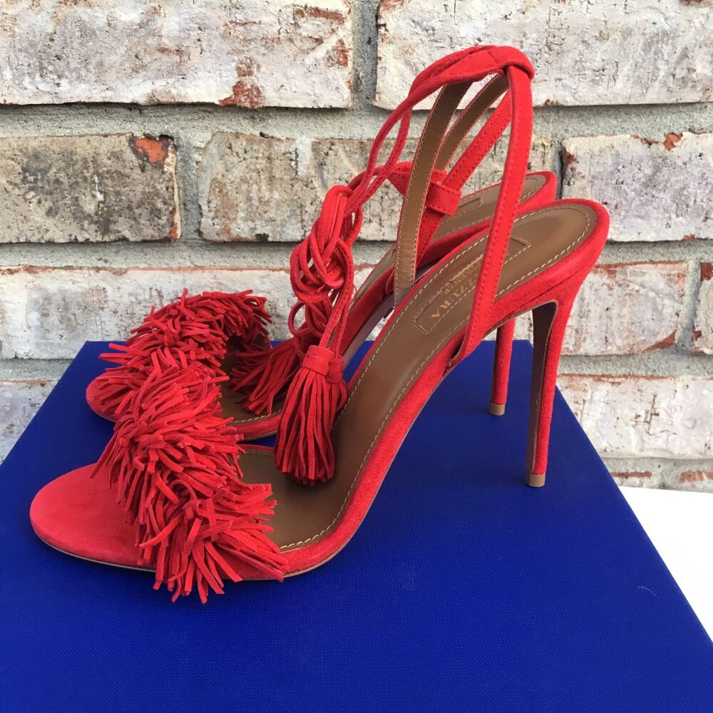 25ab41af4e5 Details about Aquazzura Wild Thing 105 Fringe Tasseled Suede Sandals Heels  Poppy Red Size 38