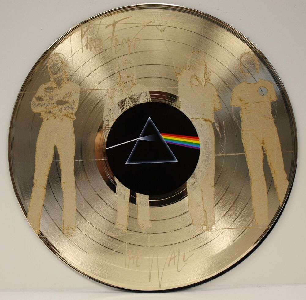 Pink floyd ltd edition laser etched image gold lp record for Vinyl records decorations for wall