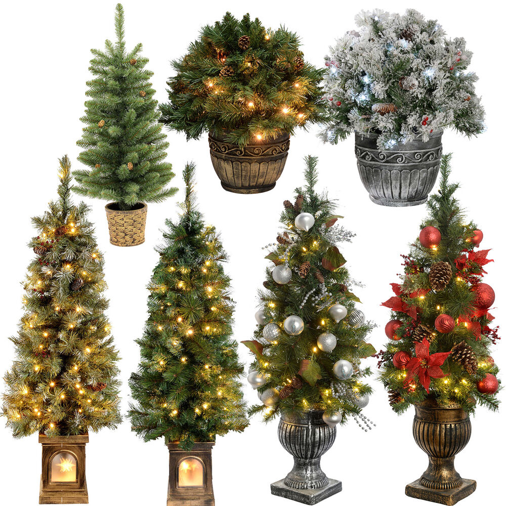 White 4 Foot Christmas Tree: 2ft 3ft 4ft Pre-Lit Pine Christmas Tree Warm White LED