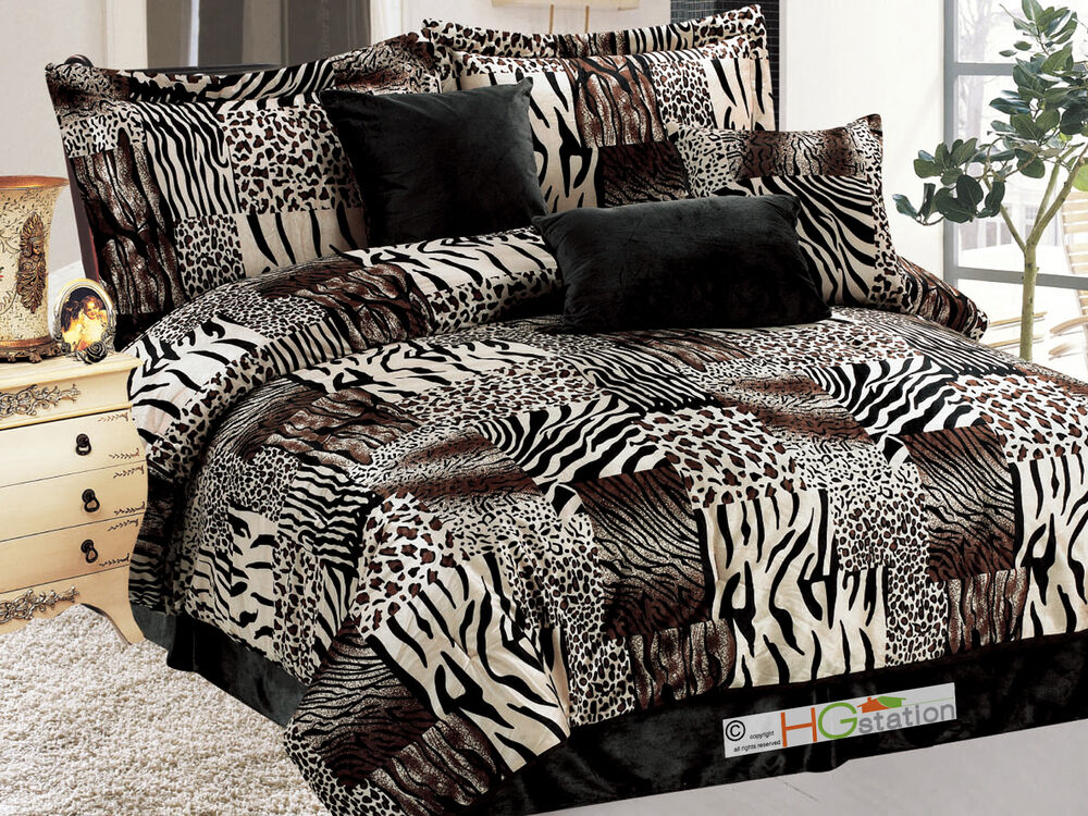 7 Pc Faux Fur Zebra Tiger Leopard Jaguar Cheetah Comforter