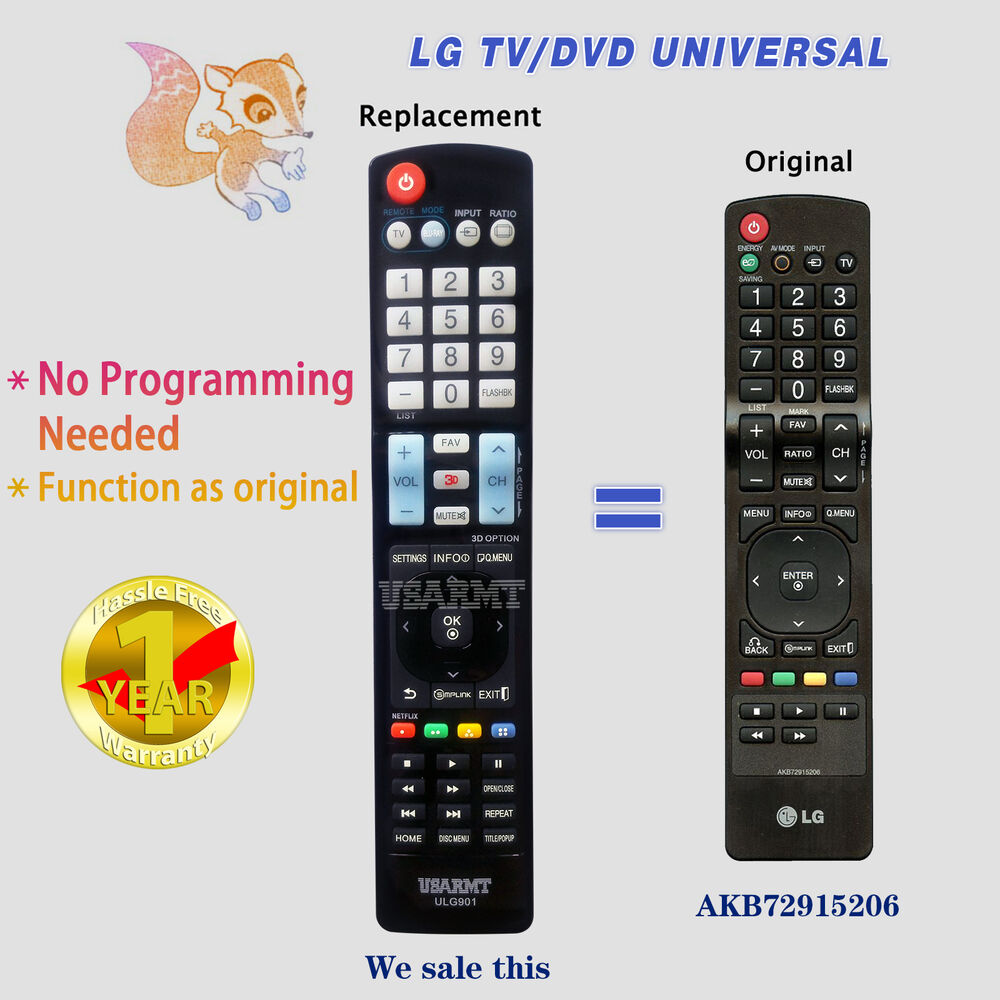 new lg tv universal remote by usarmt for akb72915206 akb72915238 akb72915252 ebay. Black Bedroom Furniture Sets. Home Design Ideas