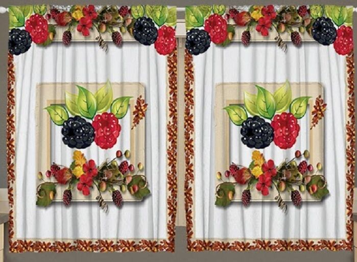 Berries Kitchen Curtain Panel Set Fruit Autumn Flowers Floral Print Window Decor Ebay