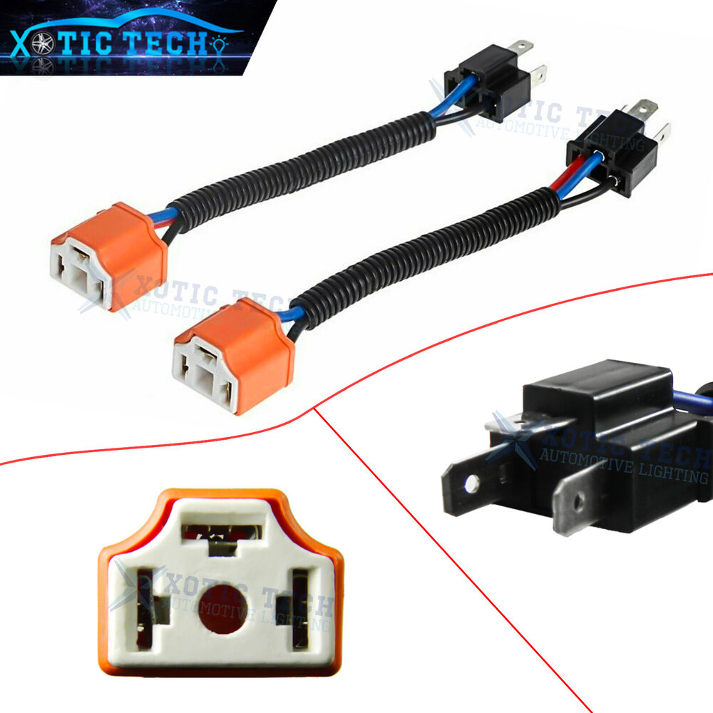 2x H4 9003 Ceramic Wire Wiring Harness Sockets Adpters For