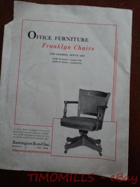 franklyn chair office furniture catalog brochure vintage org ebay