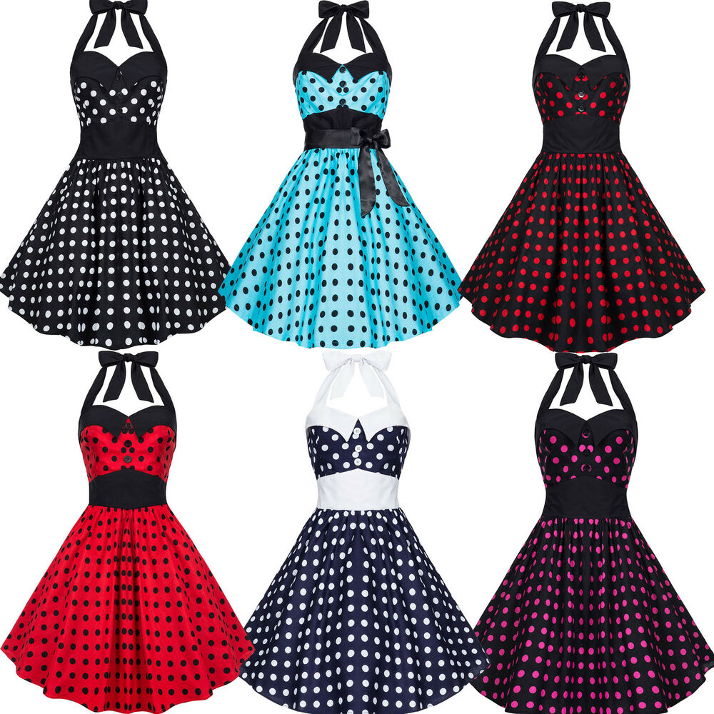 rockabilly kleid petticoat 50er abendkleid tanzkleid karneval polka dots 34 44 ebay. Black Bedroom Furniture Sets. Home Design Ideas