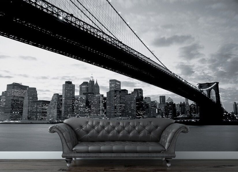 Wall mural photo wallpaper 315x232cm new york brooklyn for Brooklyn bridge black and white wall mural