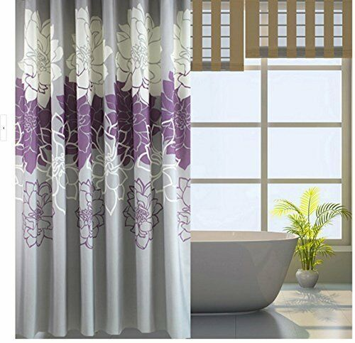 bathroom purple gray flowers waterproof polyester shower