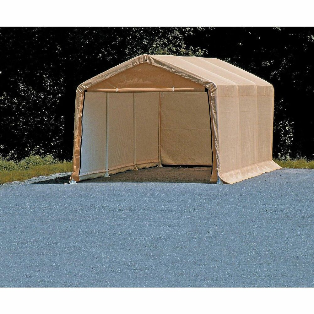 Tan Portable Carport : Portable auto storage shelter tan car canopy ft