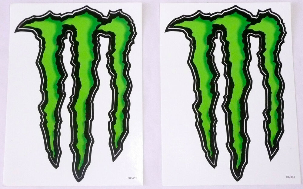 set of 2 monster energy drink logo stickers black green 5. Black Bedroom Furniture Sets. Home Design Ideas