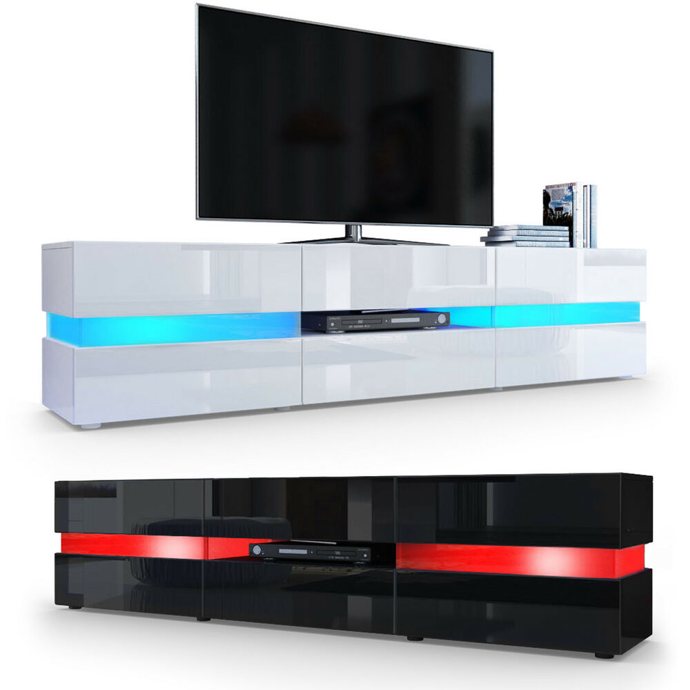 tv cabinet stand board unit lowboard rack flow in white or black high gloss ebay. Black Bedroom Furniture Sets. Home Design Ideas