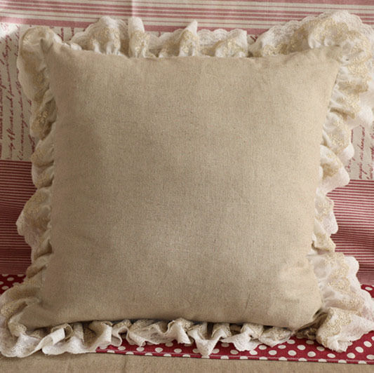 Shabby Chic Cottage Pillows : Ruffled Linen Lace Cushion Pillow Cover Shabby Chic Farmhouse French Ruffle eBay