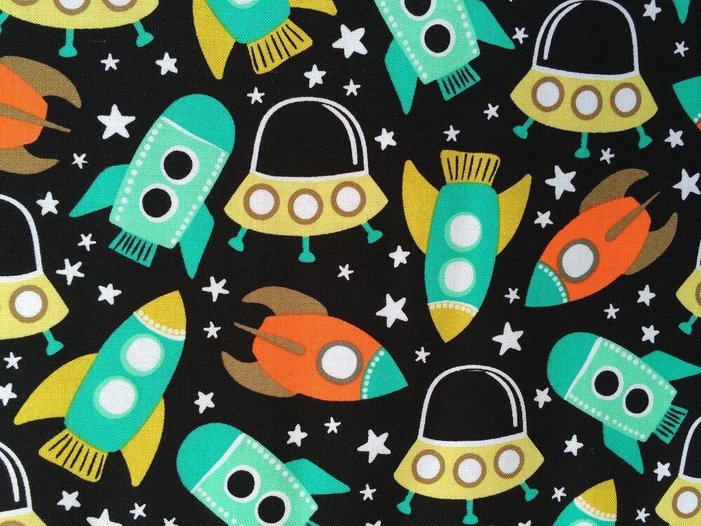 By 1 2 yd michael miller space station retro fabric rocket for Rocket fabric
