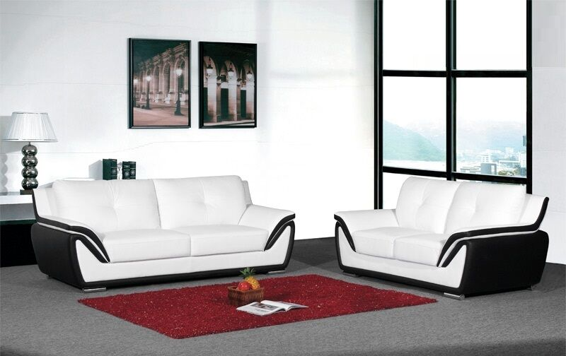 Black/White 3 Pc Sofa Set Sofa Loveseat Chair Bonded