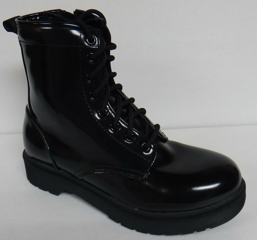 mossimo supply co black patent combat style fashion boots