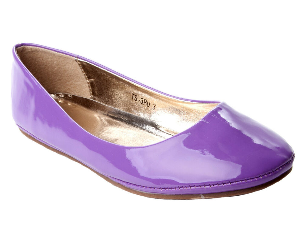 womens purple patent flat dolly ballet ballerina pumps