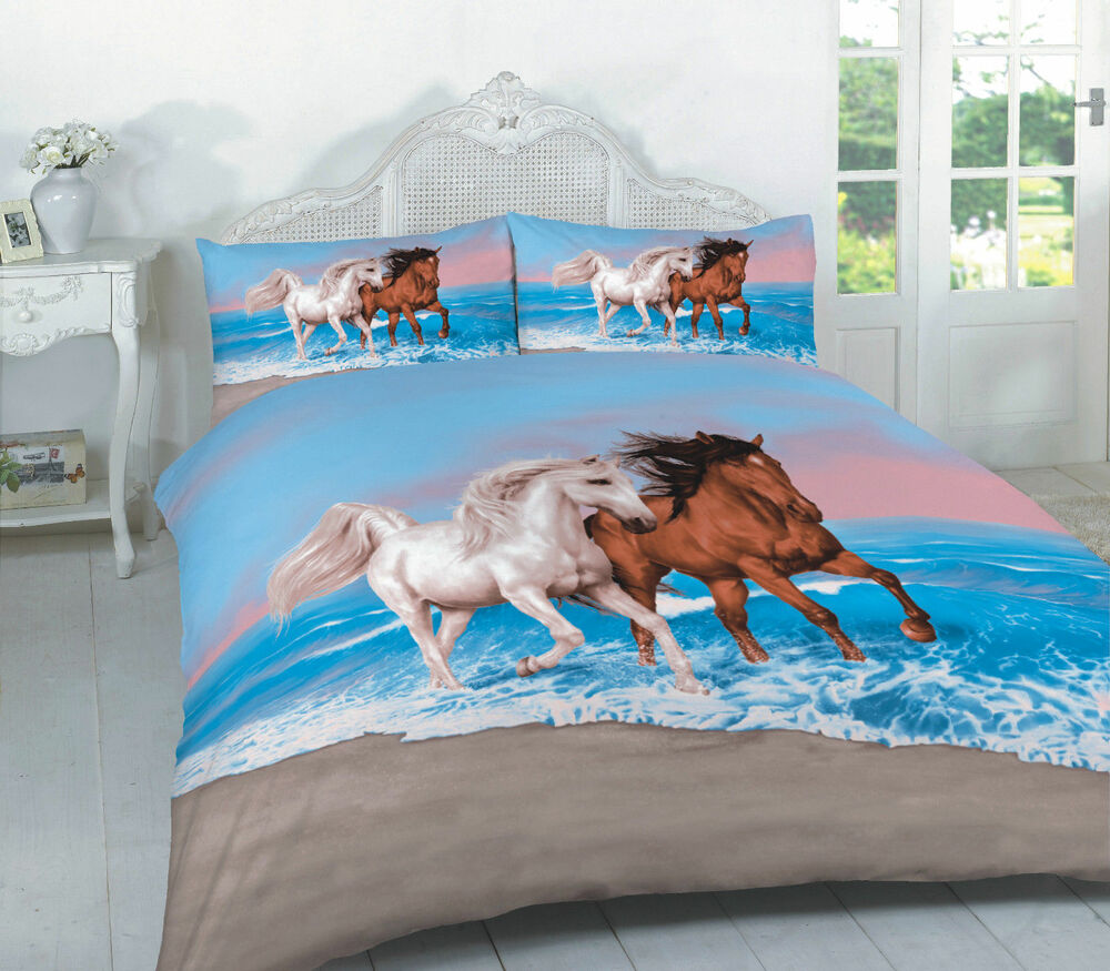 3D ANIMAL HORSE PRINT EFFECT DESIGN BEDDING SET DUVET