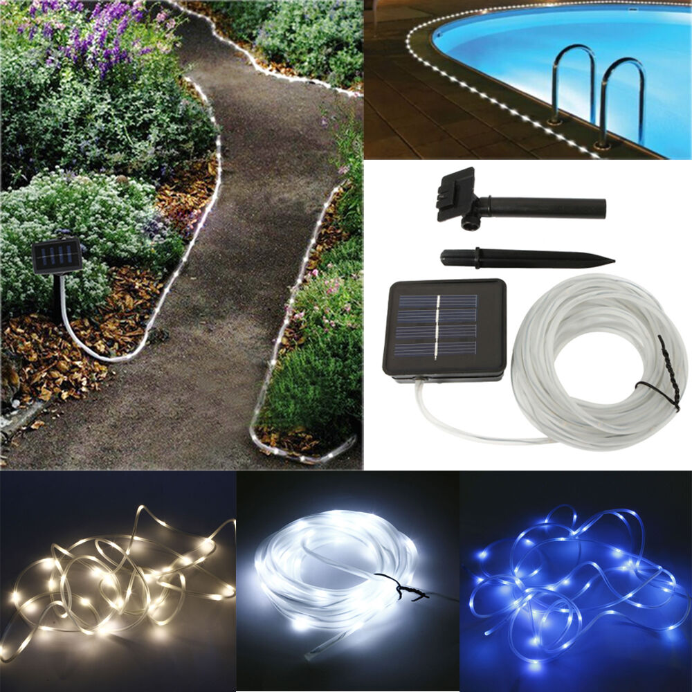 Led String Lights Reject Shop: Solar Rope Light 5M 50 LED Tube Garden Outdoor Fairy