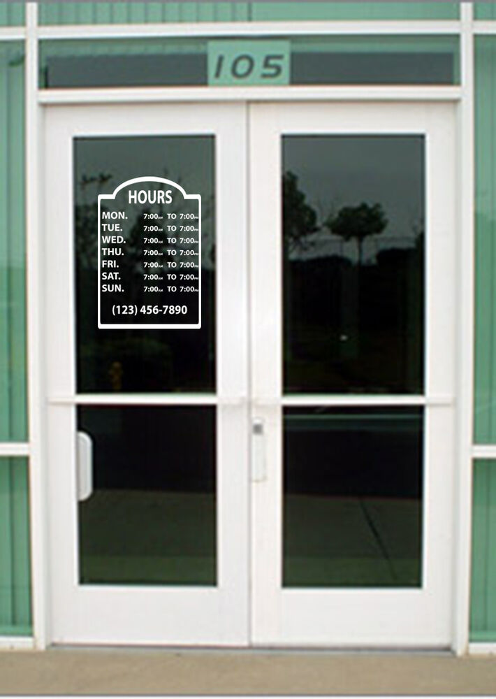 Custom business store hours vinyl window decal for Custom vinyl windows